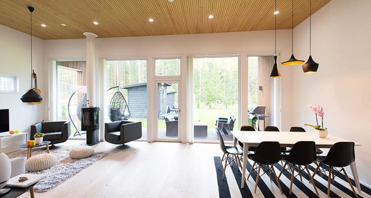 Tämä upea Iccuna kokonaisuus koostuu erikokoisista kiinteistä ikkunoista ja kokolasisesta parvekeovesta. (Jyväskylä)