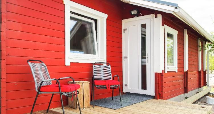 Iccuna ulko-ovi on samaa paria muiden ikkunoiden kanssa. (Mökki Orimattilassa)